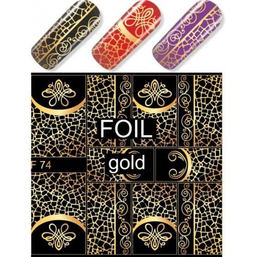 """Exquisite"" Slider Nail Art Decoration F074 gold"