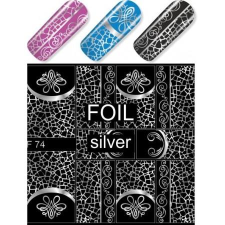 """Exquisite"" Slider Nail Art Decoration F074 silver"