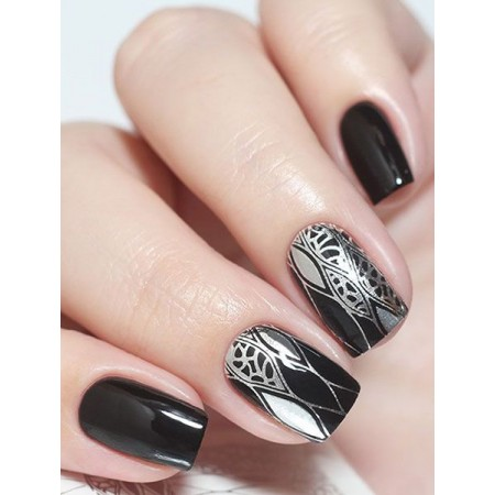 """Exquisite"" Slider Nail Art Decoration F085 silver"