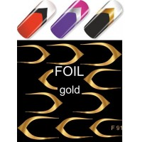 """Exquisite"" Slider Nail Art Decoration F091 gold"