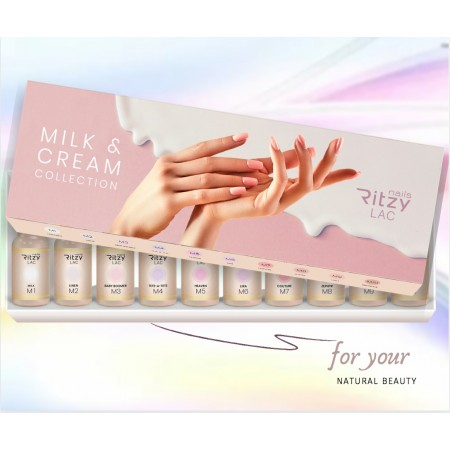 MILK & CREAM Lac Collection (10 colours) in a box with display tips stickers