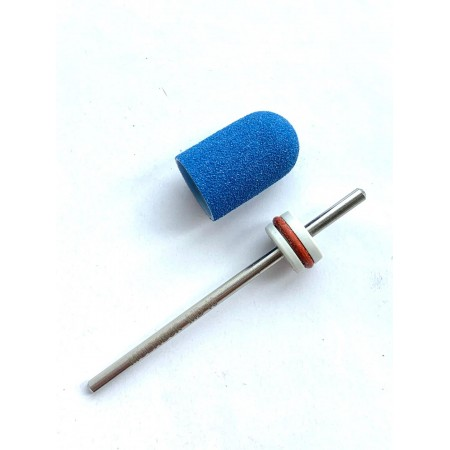 Pedicure bit with a removable composite cap BLUE Fine C10B