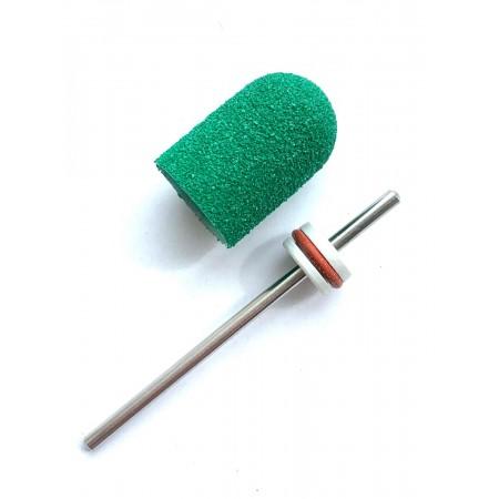 Pedicure bit with a removable composite cap GREEN Medium C10G
